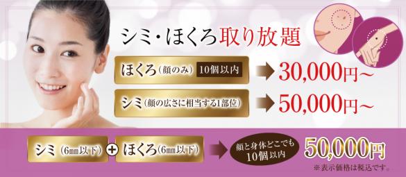 シミ・ほくろ取り放題(10月〜)